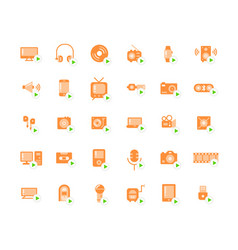Media devices and players flat icon set vector