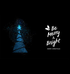 merry christmas blue glitter pine tree shape card vector image