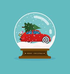 merry christmas glass ball with car and christmas vector image