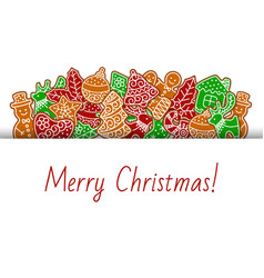 merry christmas with gingerbread cookies banner vector image