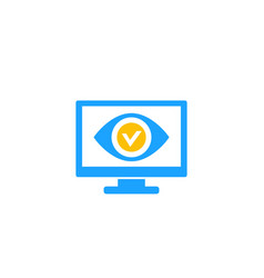 Monitoring icon eye on screen vector