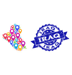 Mosaic map of iraq with map pointers and distress vector