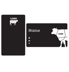 name card cow black background image vector image