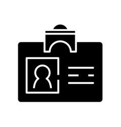 Name tag black icon concept vector