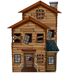Old house with broken windows vector