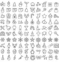 One hundred Christmas icons set vector image