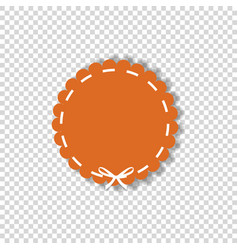orange circle sticker or tag wrapped with white vector image