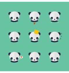 Panda icons set in flat design vector image