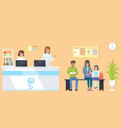 Patients at reception orange vector