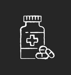 pharmacy chalk white icon on black background vector image