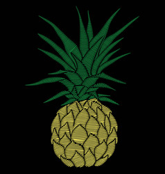 Pineapple embroidery vector