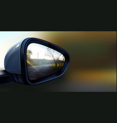 realistic black rear view mirror for car vector image
