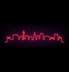 red neon skyline san antonio city bright vector image