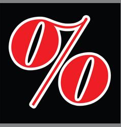 Red percentage symbol vector