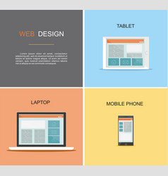 responsive web design flat design style vector image