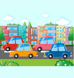 scene with many cars on road vector image