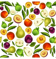 Seamless mixed sliced fruits pattern background vector image