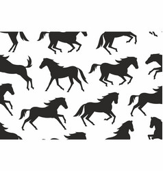 seamless pattern with horses silhouettes vector image