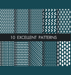 Set 10 perfect patternsmodern hand drawn vector
