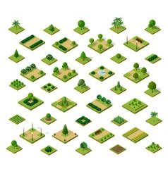 Set 3d isometric urban parks city natural vector