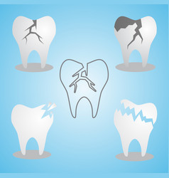 set cracked tooth flat icon vector image