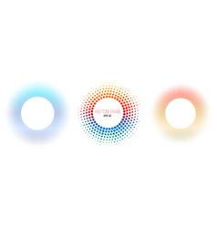 set halftone color circle frames design vector image