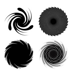 set of radial spiral bursts black star spiral vector image