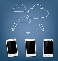 Smartphone and cloud data storage vector