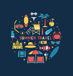Summer travel concept circle vector
