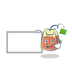 Tea bag character cartoon with board vector