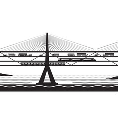 transportation bridge cross river vector image