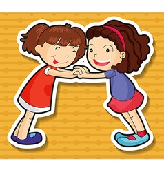 Two girls playing together vector image