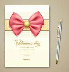 Valentine greeting card pink ribbon vector