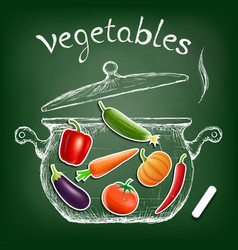 Vegetables cooked in a pan kitchen equipment vector