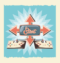 video game retro with controls vector image