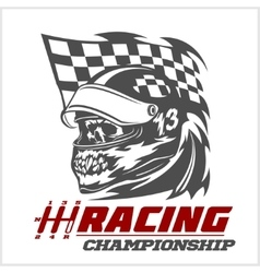 Vintage Skull Checkered Flags Racing vector