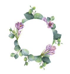 Watercolor round wreath with eucalyptus vector