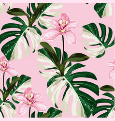 white exotic monstera leaves and orchid flowers vector image