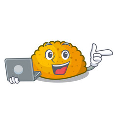 With laptop character jamaican patties on the vector