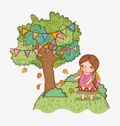 Woman indigenous and tree with party flags vector