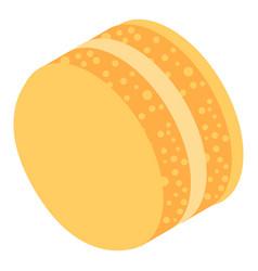 yellow cream macaroon icon isometric style vector image