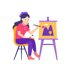 Young woman painter drawing picture on canvas vector