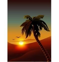 Palm tree on tropical island Night romantic vector image