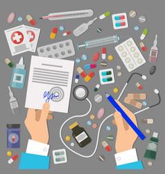 pharmaceutics banner set medical prescription vector image