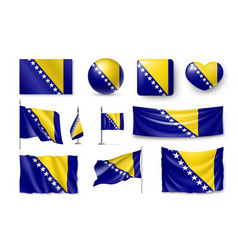set bosnia and herzegovina flags banners banners vector image