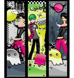 set of emo banners vector image vector image