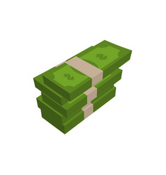 stack of money isolated pile of cash on white vector image vector image