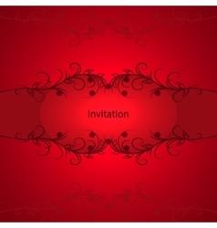 Vintage invitation card on red background vector image