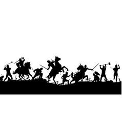 Battle scene silhouette vector