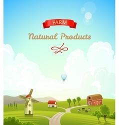 Farm rural landscape Farm background vector image vector image